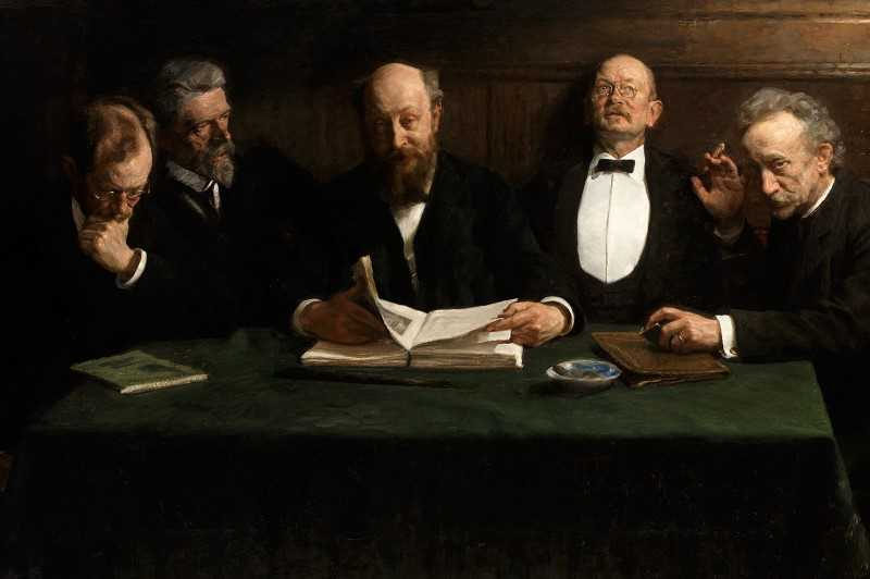 A Skagen painting of five elderly men sitting by a table reading.